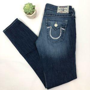 True Religion Skinny W Flap Crystal Logo Jeans